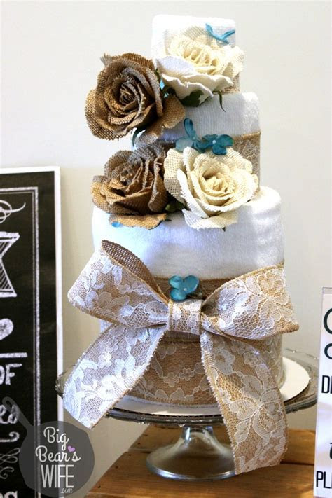 How to Make a Towel Cake for a Bridal Shower   Big Bear's Wife