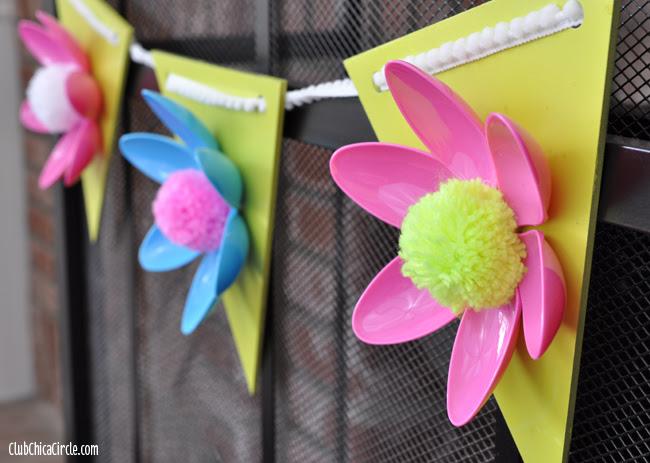 Spring Flower Hanging Garland Easy Craft Idea