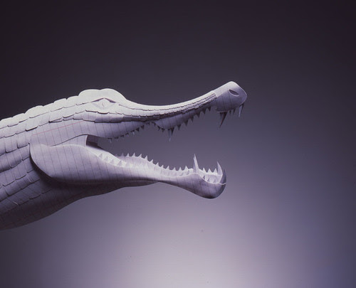 crocodile-paper-sculpture-Gail-Armstrong