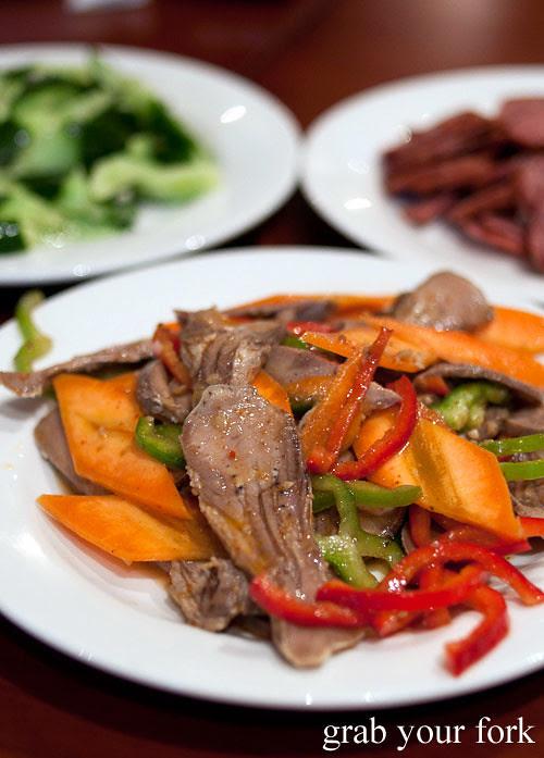 xinjiang lamb tongue salad at poplar central asian cuisine crows nest