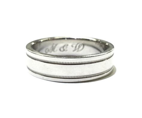 Tiffany & Co. PLATINUM MILGRAIN WEDDING BAND RING Size 10