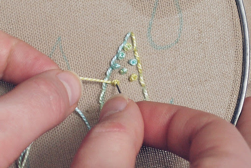 Filling with french knots
