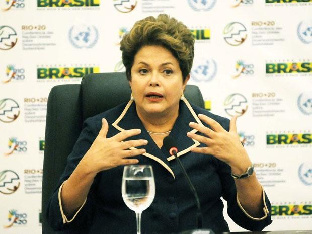 A presidente Dilma Rousseff, durante entrevista coletiva na Rio+20 (Foto: Alexandre Durão/G1)