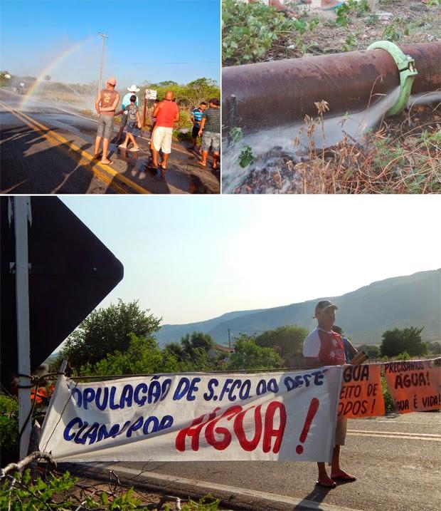 Além do rompimento da tubulação, trabalhadores interditaram a pista com pneus e galhos de árvores incendiados (Foto: Chico Leite/G1)