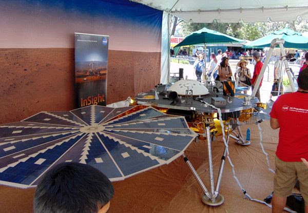 A full-size model of NASA's InSight Mars lander (set to launch in May of next year) at JPL...on May 20, 2017.