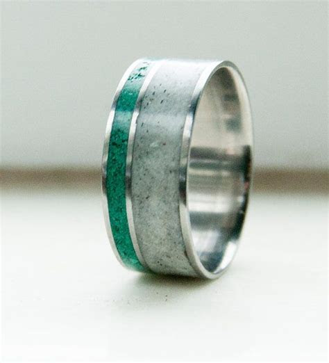Mens Wedding Band Antler & Malachite Ring   Staghead