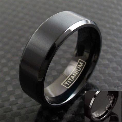 Black Titanium Men's Brushed Finish Stripe Wedding Band