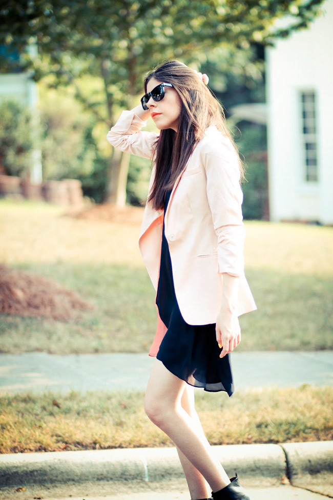 Pink Blazer, Alice Yim dress, strappy heels, Fashion outfit