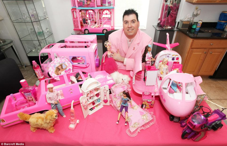 The collection doesn't stop at the dolls - Barbie-branded mouthwash, toothbrush, plasters and many of Barbie's vehicles are on display at the Florida house