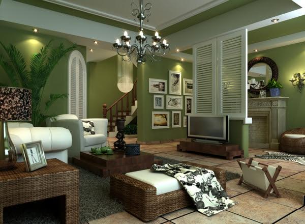 Wohnideen Wohnzimmer-ein ruhiges Gefühl durch die Farbe ...