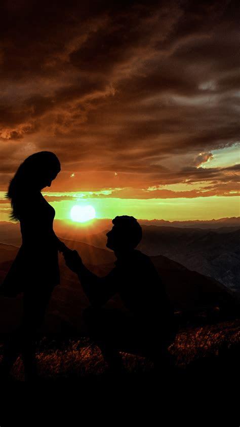 wallpaper couple silhouette lovers proposal sunset dawn sunrise  love