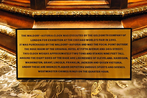 Signage for Waldorf Astoria Clock