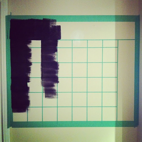 Because I really needed a chalkboard wall calendar in the kitchen. #chalkboard #painted #calendar