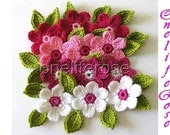 Crochet Flowers 12 pieces with 12 leaves....Pinky - OnelifeRosen