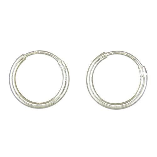 Hoops Uk Sterling Silver 12mm Hinged Sleeper Earrings