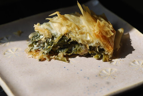 Spinach & feta pie slice