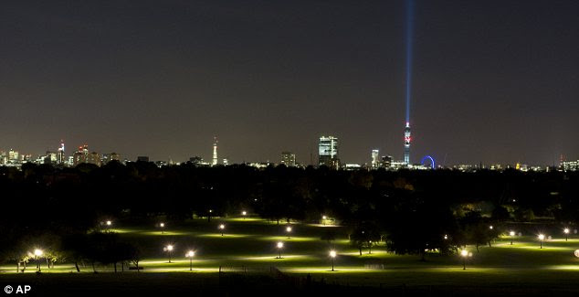 May the London light be with you: The BT Tower seen from Primrose Hill Park