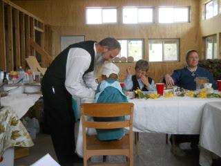 David & Children Working on Crafts
