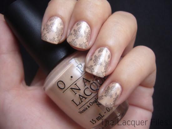 OPI Sand in my Suit Colour Club Revvvolution Lace Design Konad Imageplate M71
