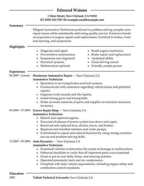 Best Automotive Technician Resume Example From