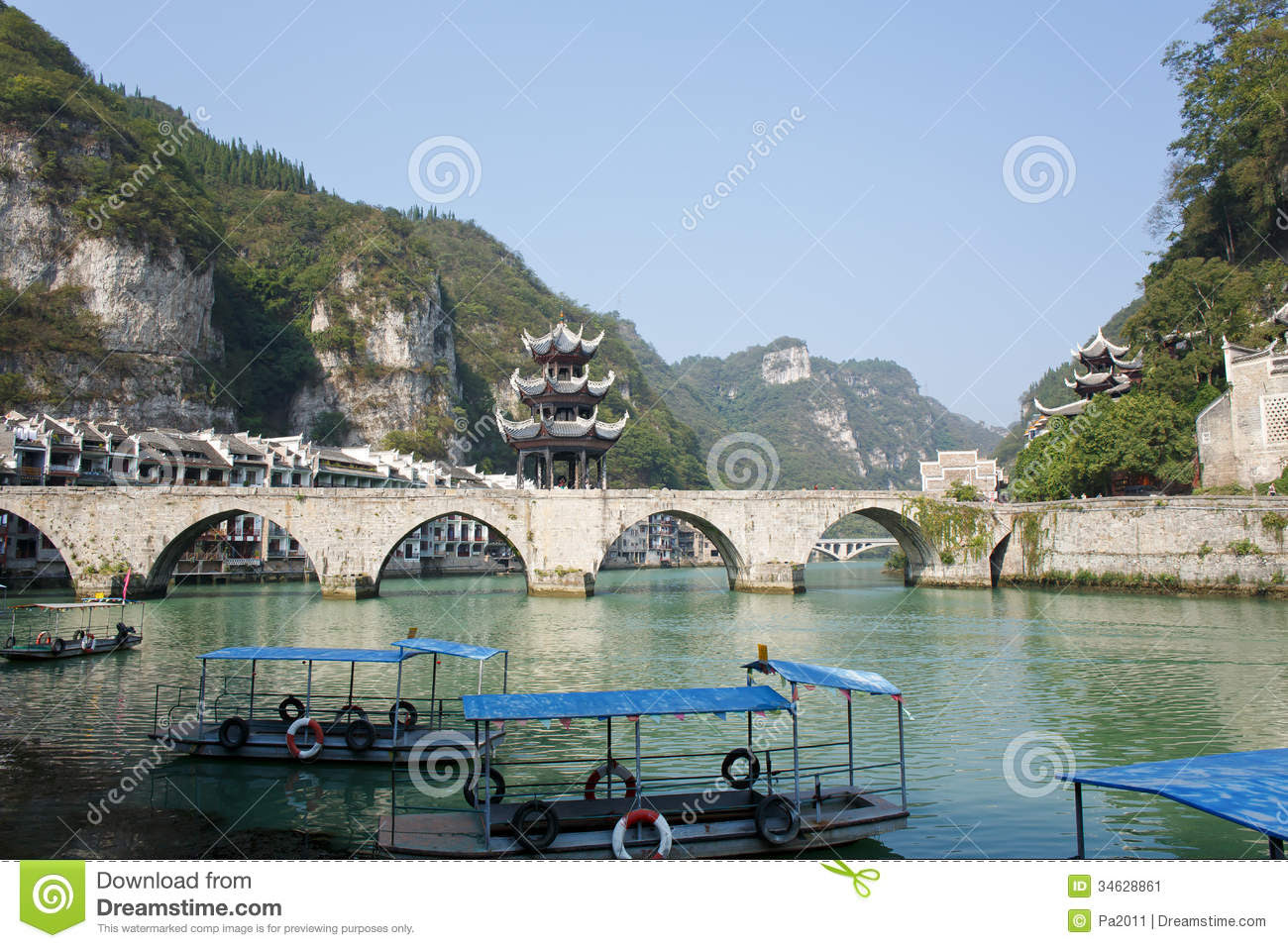 zhenyuan ancient town guizhou china zhengyuan october zhengyuan old country province tower river bridge located 34628861