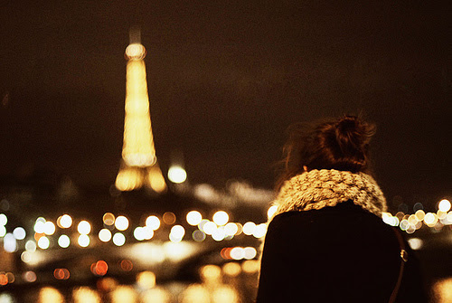 city, eiffel tower, girl, lights - inspiring picture on Favim.com