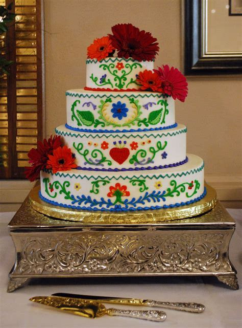 Mexican Embroidery inspired wedding cake. Bold and vibrant
