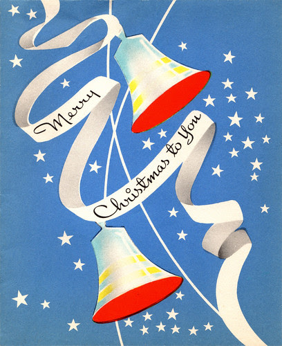 Vintage 1940s Christmas Card - Bells and Ribbon