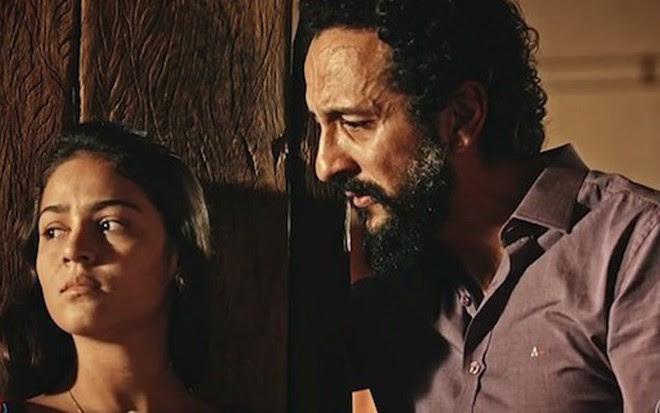 Giullia Buscacio (Olívia) e Irandhir Santos (Bento) em Velho Chico, novela das nove da Globo - Reprodução/TV Globo