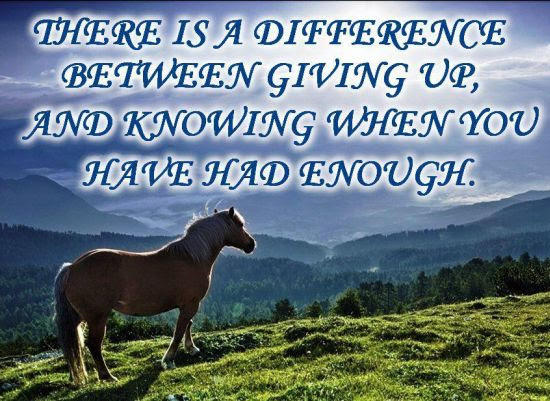 Giving Up And Knowing When Is Enough Quote Picture