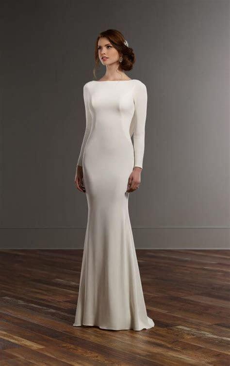 Long sleeved wedding dress with bateau neckline   Martina