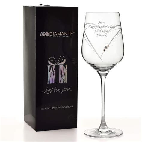 Engraved Swarovski Heart Wine Glass Personalised By