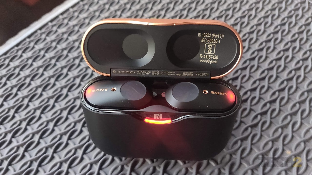 These Sony buds are quite chunky and sport an unusual design. Image: Ameya Dalvi/Tech2