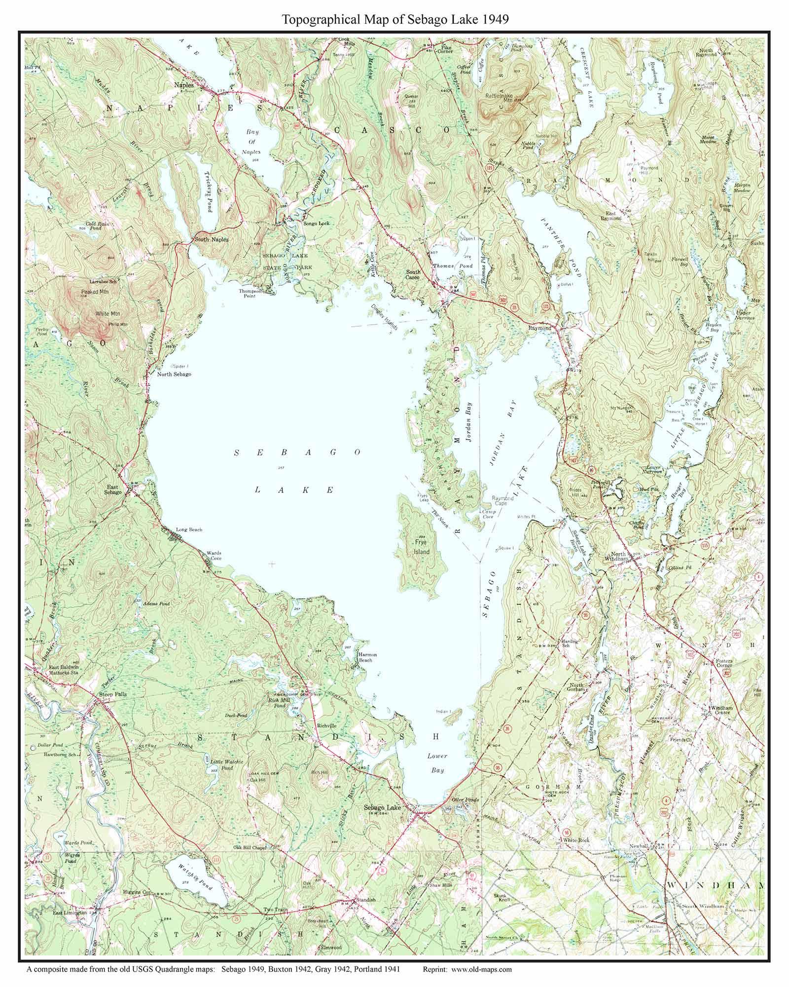 Old Maps Of Sebago Lake Maine