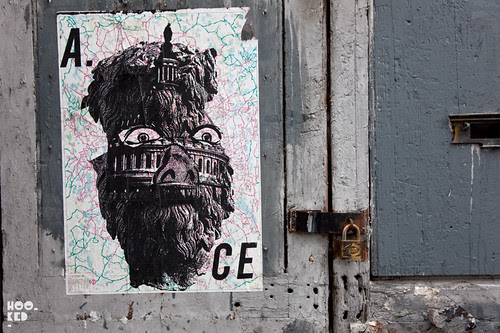 London Street Artist A.CE's screenprinted pasteups