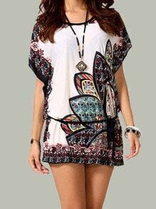 White Batwing Sleeve Floral Loose Blouse