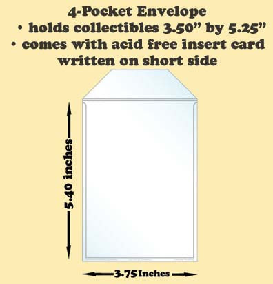 4 Pocket Polypropylene Archival Envelope Short Side Card Included