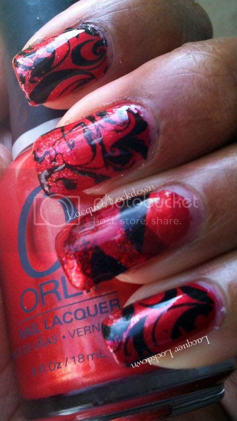 Lacquer Lockdown - Orly Emberstone, Orly Cherrybomb, Sally Hansen Red-dy To Mingle, Dashica SdP-A, Daschica, Fishtail Braid, China Glaze Ruby Pumps, Sally Hansen Pat On Black, Adventures in Stamping, abstract mani, stamping, nail art, gradient nails, red manicure