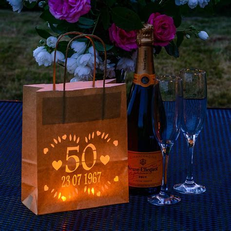 golden wedding anniversary lantern bag, personalised by