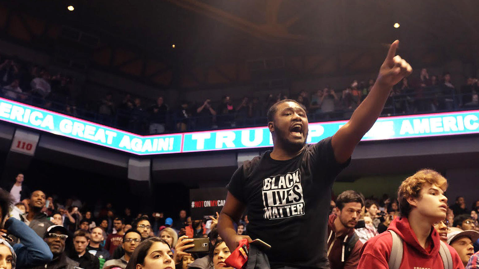 Protesters inside the UIC Pavilion