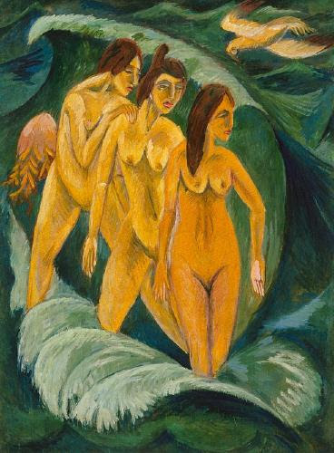 File:'Three Bathers', oil on canvas painting by Ernst Ludwig Kirchner, 1913, Art Gallery of New South Wales.jpg