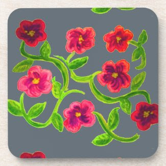 Petunia Flowers on Set of 6 Drink Coasters