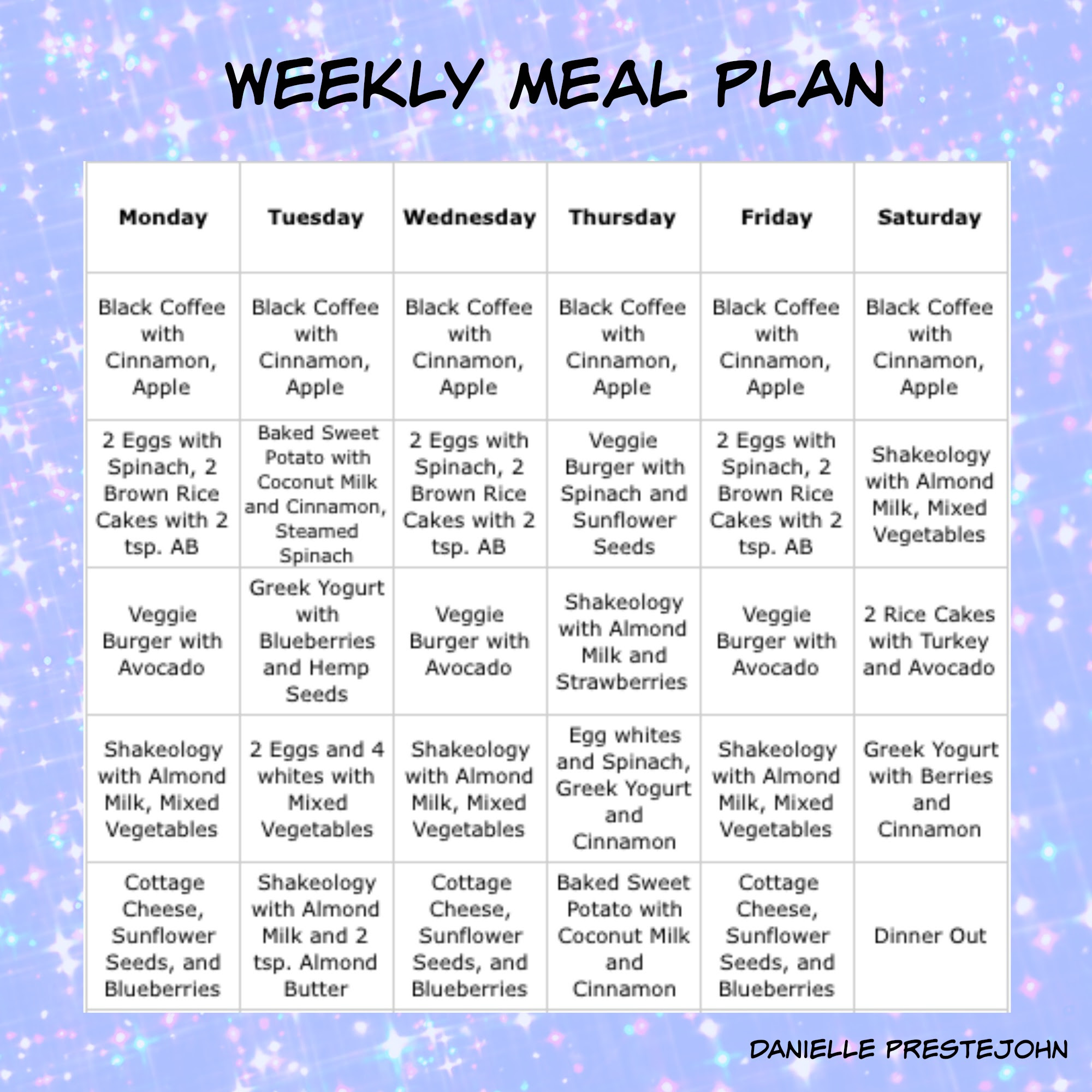 28 Day weight loss plan Menu Plan