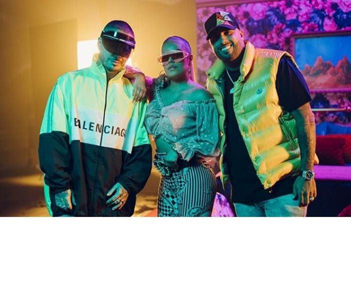 Resultado de imagen para Karol G, Nicky Jam y J Balvin graban video del remix de 'Mi cama'