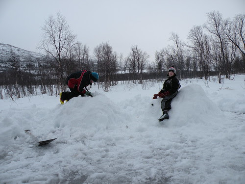 Making snow sculptures