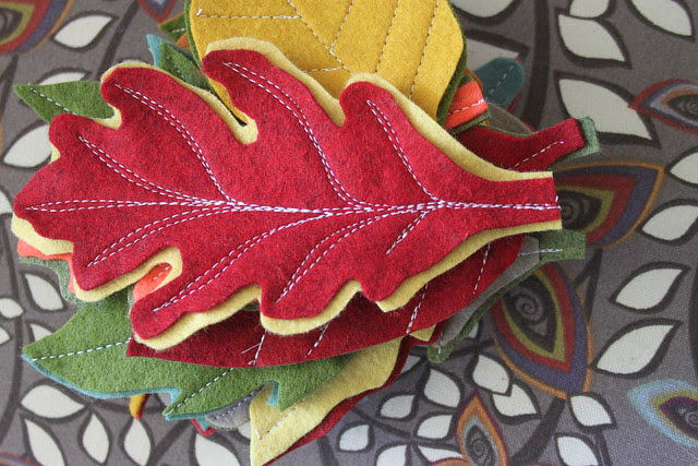Machine Stitched Leaves