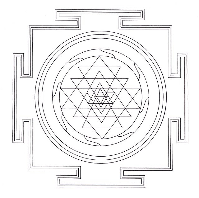serrated geometric Tibetan mandala line drawing