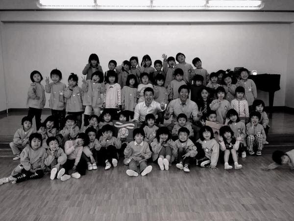 The TA team with children in Fukushima