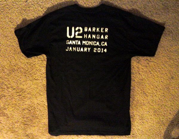 A free T-shirt that I got for working on the music video for the new U2 song 'Invisible,' on January 8-9, 2014.