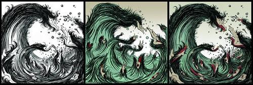 Tsunami (drawing, sketch and final) - Yuko Shimizu